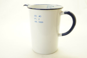 Vintage White/Blue Enamel Darkroom Measuring Jug, 40 OZ. 2 PT. 1000 Gr. (Hire Only)