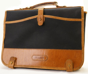 Billingham Black And Tan Leather And Canvas Briefcase/Portfolio Case