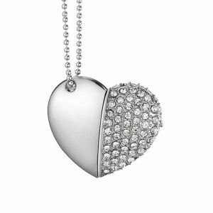 Novelty Crystal Heart USB 2.0 8gb Memory Stick on Necklace