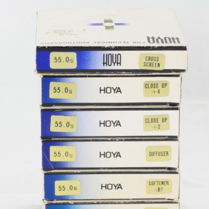 7 x Hoya 55mm Glass Filters Crystal Cases & Boxed