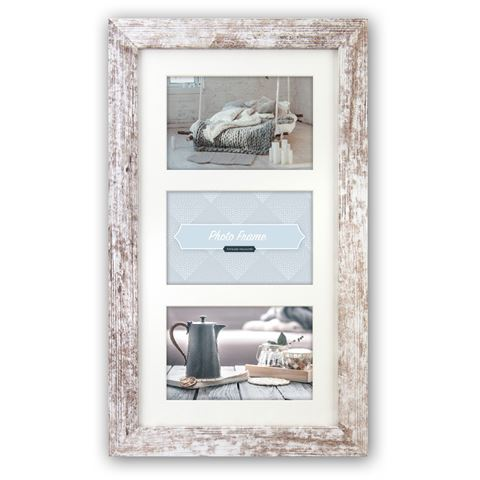 Zep Wooden Collage Photo Frame V23136 Nelson 6 3Q White Wash for 3 Photos