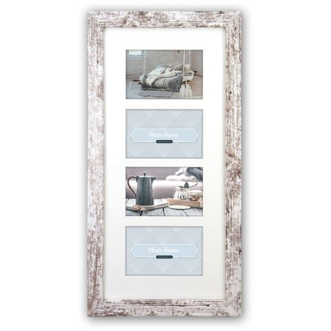Zep Wooden Collage Photo Frame V24106 Nelson 6 4Q White Wash for 4 Photos